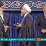 لحظه اعطای حکم ریاست جمهوری از سوی مقام معظم رهبری به روحانی (فیلم)