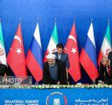 نشست مطبوعاتی رییسان جمهور ایران، روسیه و ترکیه (عکس)